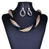 Wholesale New Arrival Metal Braided Necklace Earrings Set Statement Simple Jewelry Set for Women turkish jewelry