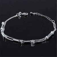 Wholesale Little Korean Jewelry - Silver Color Korean Accessories Anklet Fashion Simple Jewelry Little Star Double Layers Anklet Jewelry Accessory Wholesale