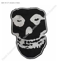 """Wholesale Rock Band Jacket Patches - 10"""" Large Misfits Sliver Crimson Skull Music Band Biker Jacket Vest Back applique Embroidered IRON ON Patch Rock Punk"""