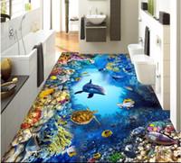 Wholesale Soundproof Floor - 3d pvc flooring custom photo Waterproof floor wall sticker Sea World Fish Coral Dolphin decoration painting room 3d wall murals wallpaper
