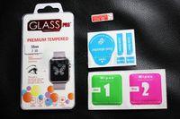 paketlenmiş cam ekran koruyucu toptan satış-38mm 42mm Apple İzle iwatch için 0.2mm 2.5D 9 H Temperli Cam Flim Ekran Koruyucu perakende paketi ile