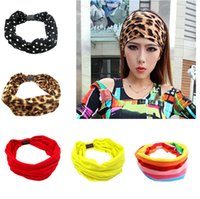 Wholesale Wide Hair Extensions - Solid color sport yoga stretch hair band Wide women stripe elastic band summer leopard headband NEW style L5