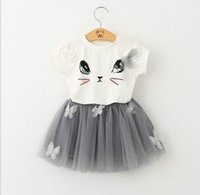 Wholesale Tutu Veil - Retail Girls Clothing Sets Summer Fashion Style Cartoon Kitten Print T-Shirts+Net Veil Dress Two Piece Girls Clothes Sets 70231