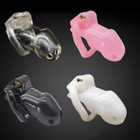 Wholesale Male Pink Chastity Belts - 2017 New arrive Small Standard Cage 100% Biosourced Resin male Chastity Device belt Sex Toys cock cage Product black pink white clear color