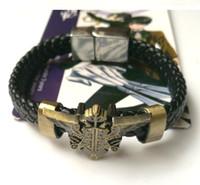 Wholesale Kuroshitsuji Butler Sebastian - Kuroshitsuji Black Butler Sebastian Crow Logo Bracelet Cosplay Accessories Vintage Badge 10PCS LOT High Quality