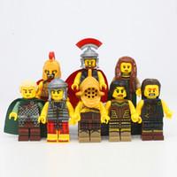 Wholesale Toy Warrior Knights - 2017 8pcs lot X0137 Super Heroes Gladiatus Medieval Knights Rome Commander Elf Hunter Highland Warrior Building Blocks Toys
