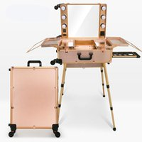 metal case with legs - 4 Colors Makeup Artist Train Box with LED Lights Station Trolley Studio Wheeled Case with Legs Cosmetic Case with Universal wheels