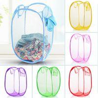 Wholesale Laundry Net Fabric - New Folding receive basket Storage Baskets Folding net type color laundry basket 6 colors free shipping