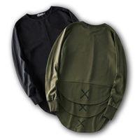 Wholesale Mens Plain Clothing - Wholesale-Cross Print Hip Hop Sweatshirt Men 2016 Winter Streetwear Curved Hem Side Zipper Plain Mens Sweatshirts and Hoodies Man Clothes