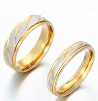 Wholesale Gold Promise Rings For Couples - Fashion Stainless Steel Couples Rings For Unisex Gold Plated Wedding Bands Engagement Anniversary Lovers Promise