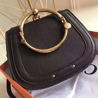 Wholesale Genuine Leather European Bracelet - 2017 Hot Sale HighEnd Style Medium Nile Bracelet Ring Circle Hoof Strap Corssbody Flap Bag Six Colors