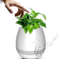 potes de plantas iluminadas venda por atacado-Criativo Inteligente Bluetooth Toque Música Vasos de Flores Home Office Decoração Verde Planta Música flowerpot Colorido Luz Da Noite com Alto-Falante