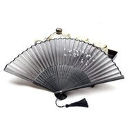 Wholesale Butterfly Party Decor - Wholesale-Chinese Folding Hand Fan Home Decor Silk Bamboo Flower Butterfly Pocket Fan