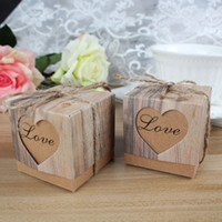 Wholesale Sweet Love Favour Box - Vintage Paper Heart Love Rustic Sweet Laser Cut Candy Gift Boxes Wedding Party Favours Free Shipping