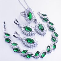 Wholesale Silver Emerald Pendants - 2017 fashion jewelry sets pomegranate red emerald Topaz stone silver 925 pendant earrings bracelet ring 6 7 8 9 10