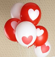 Wholesale Red White Balloons - Eternal Love heart baloon (100piece lot ) 12inch red and white color round balloons 100% latex Balloons
