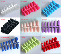 Wholesale Short Fake Nails - Wholesale-120pcs Short Designs Fake Nails Faux Ongles Full Cover False Acrylic Nails Artificial Design Tips ! 15 Colors Choices !
