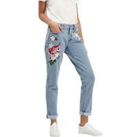 Wholesale Vintage Denim High Waist - Wholesale- Vintage Retro high waist jeans women denim flower pencil pants designer embroidered jeans plus size 2017 new
