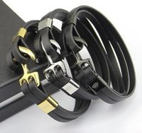 Wholesale Leather Belt Slide Charm Bracelet - Titanium steel jewelry wholesale R men's clothing anchor leather belt bracelet 18K gold hook button leather men's fashion bracelet