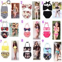 Wholesale Animal Print Girls Kids Swimsuit - 2017 Newest 13 Styles Baby Girls Swimwear Summer Kids Bikini Swimsuit bow printing Children Bathing Suit Kids Girls Swimming Suit