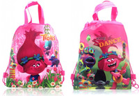Wholesale woven gift bags - Min Order=500PCS Trolls Children Cartoon Drawstring Backpacks School Bags 34*27CM Kids Best Gift Shopping Party Bags Free DHL