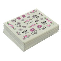 Wholesale Wholesale Water Temporary Tattoo - Wholesale- 50 Sheets Mixed Styles Watermark Flower Cat Etc Stickers Nail Art Water Transfer Tips Decals Beauty Temporary Tattoos Tools