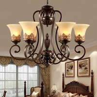 Wholesale Chandeliers Brown Glass - Island Country Vintage Style Chandeliers Flush Mount Ceiling Pendant Lamps E27 Painting Lighting Fixture Lamp Glass Lampshade