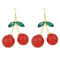 Wholesale Cheap Big Dangle Earrings - Free Shipping Wholesale Cheap Red Cherry Big Drop Earring
