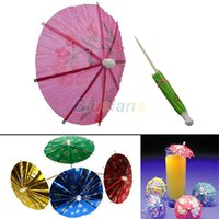 Vente en gros 50pcs papier cocktail parapluies parapluies boissons Picks Wedding Luau Party Sticks plus de couleurs 01MD 34M2