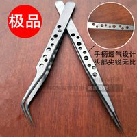 Wholesale Forceps Tweezers - Wholesale-SS-SA Grafting eyelash high quality precision 9-hole breathable Tweezers Stainless steel tweezers straight tip forceps   elbow