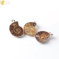 Wholesale Snail Pendant - CSJA Natural Stone Ammonite Fossils Seashell Snail Pendants Ocean Reliquiae Conch Animal Statement Necklaces Charms Men Women Jewellery E252