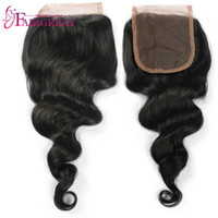 Wholesale Swiss Lace Indian Remy Closure - Brazilian Remy Hair Lace Closure Loose Wave Human Hair 4X4 Swiss Lace Peruvian Loose Wave Virgin Hair