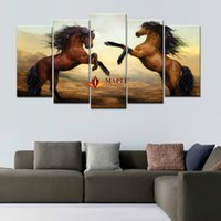 Wholesale High Quality Horse Oil Painting - High Quality Cheap Art Pictures Brown Horse Large HD Modern Wall Decor Abstract Canvas Print Oil Painting Home Decoration Artwork Unframed