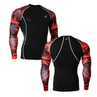 Men black compression shorts - Muscle Men tights D Print Compression Shirt crossfit T shirt Long Sleeves Thermal Under Top MMA Rashguard Fitness Base Layer Weight Lifting