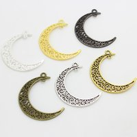 Wholesale Min Order Pieces - Sweet Bell (Min order 30 pieces) 30*39mm Eight Colors Vintage Metal Alloy Hollow Moon Charms Jewelry diy Pendants Findings D0168