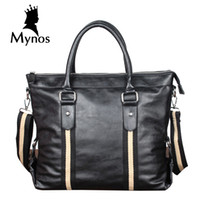 Atacado- MYNOS Brand Bussiness Bolsas para Homens Luxo Designer Soft Leather Briefcase Laptop Handbags Male Tote Crossbody Bag For Men