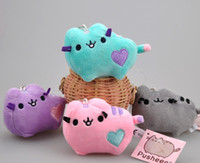 Wholesale Doll Toys Color - 4PCS LOT 4 Different Color 10CM Colorful Lovely Pusheen Cat Plush Stuffed Animal Toy Doll Pendant