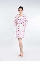 Wholesale Soft Coral Fleece Sleepwear - White Red Spots Bathrobe Women Pajamas Hotel SPA Plus Robes Pajamas for Women Super Soft Coral Fleece Coral Cashmere Sleepwear Bath Towels