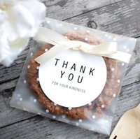 papel de regalo para galletas al por mayor-Papel de regalo 7 * 7 + 3 cm Puntos blancos Transparente Frosted OPP Bolsa de regalo de boda de plástico Fiesta de cumpleaños Boda Cookie Candy Bolsa de embalaje