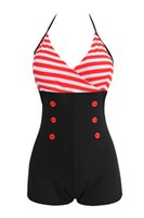 Wholesale Blue Strappy Lingerie - Newest Plus Size Women One Piece Sexy Swimsuit lingerie underwear Print Button Sweetheart Swimwear Strappy M To 4XL