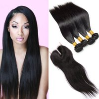 Cheveux Humains Vierges Doubles Pas Cher-Brazilian Straight 4 Bundles Virgin Human Hair avec dentelle Fermeture 7a Brazilian Virgin Hair Double Drawn Virgin Cheap Hair Extensions