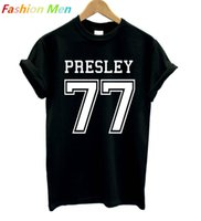 Wholesale wholesale hipster fashion - Wholesale- ELVIS PRESLEY 77 Print Men T shirt Fashion Casual Funny Shirt For Man White Black Top Tee Harajuku Hipster Street Hip Hop BZ20-5