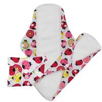 Wholesale Sanitary Cloth Pads - Free Shipping Small Wholesale Comfort Feminine Washable Reusable Menstrual Pads Soft Microfleece Cloth Ladies Sanitary Pads