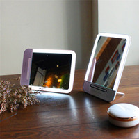 Wholesale Compact Cosmetic Mirror Wholesale - LED Makeup Mirror makeup Mirror foldable inside battery mini foldable Portable Folding Compact Cosmetic with LED Light retail packing