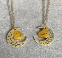 Wholesale Cheap Engraving Gifts - Sell like hot cakes on the new moon love engraved letters identity bronze jewelry necklace trend Relatives necklace pendant cheap wholesale