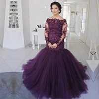 Wholesale Dress Bride Boat - Purple Lace Plus Size Mother Of The Bride Dresses With Sleeves Boat Neck Appliques Mermaid Formal Evening Gowns Wedding Guest Dress Plus Siz