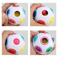 Wholesale Football Stress Balls - 10pcs New Challenge Speed Football Cube Rainbow Ball Learn Puzzle Stress Reliever Pleasure Creative Cube Christmas Present Rubik's Cube 70cm