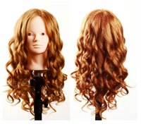 "Wholesale Practice Head Human Hair - 100% Human Hair Mannequin Heads 20"" gloden Hair Professional Styling Mannequin Head Hairdresser Practice Maniqui Head For Sale"