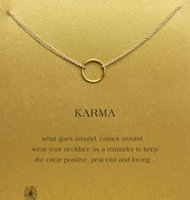 Wholesale Karma Circle - With card! cute Dogeared Necklace with one circle pendant(karma), silver and gold color, free shipping and high quality.