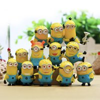 Wholesale Small Figurines - 12pcs set 3D Small Lifelike Minions Home Decor Decoration Crafts Figurines Miniatures Minions Living room bedroom decor DHL Shipping Free